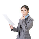 Business woman holding file document paper Stock Images