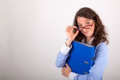 The business woman is holding a file in her hands Royalty Free Stock Image