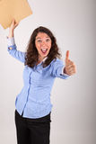 The business woman is holding a file in her hands Stock Image