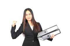 Business woman holding a file. And show her hand Royalty Free Stock Photography