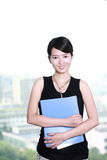 Business woman holding with folder Royalty Free Stock Image