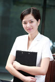 Business woman holding with folder Stock Photo