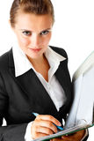 Business woman  holding folder with documents Royalty Free Stock Photo