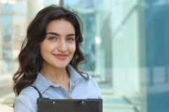 Business woman holding folder with documents Stock Photos