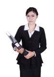 Business woman holding folder documents isolated on white stock photo
