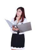 Business woman holding folder documents and thinking Stock Photography