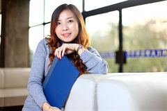Business woman holding with folder in office Royalty Free Stock Photo
