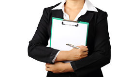 Business woman holding folder and pen isolated with clipping pat Stock Photography
