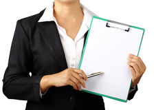 Business woman holding folder and pen isolated with clipping pat Royalty Free Stock Photography