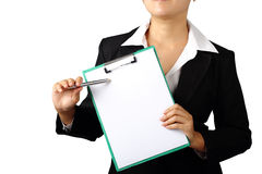 Business woman holding folder and pen isolated with clipping pat Royalty Free Stock Image