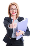Business woman holding folder and thumbs up Stock Photo