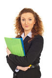 Business woman holding folders Stock Photos