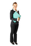 Business woman holding folders with documents. Full length portrait  of smiling modern business woman holding folders  with  documents in hands isolated on white Stock Photo