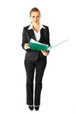 Business woman holding folders with documents Stock Image