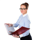 Business woman holding folderwith documents in hand Royalty Free Stock Photography