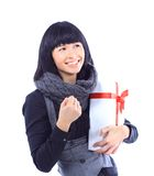 Business woman holding a gift Royalty Free Stock Photo