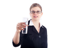 Business woman holding glass of water Royalty Free Stock Photos