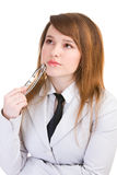 Business woman holding glasses Royalty Free Stock Photography