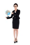Business woman holding a globe in one hand isolated on white Royalty Free Stock Photo