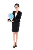 Business woman holding a globe in one hand isolated on white Royalty Free Stock Image