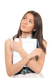 Business woman holding in hand pen notepad Royalty Free Stock Image