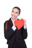 Business woman holding heart Stock Photography