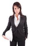 Business woman holding an helmet Stock Photo