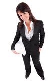 Business woman holding an helmet Royalty Free Stock Images