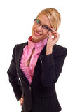 Business woman holding her glasses Royalty Free Stock Photo