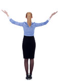 Business woman holding her hands up Stock Photo