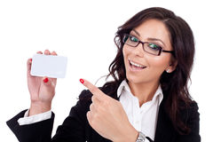 Business woman holding her visitingcard Royalty Free Stock Photography