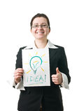 Business woman holding idea lightbulb Stock Image