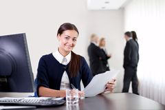 Business woman holding important office documents Royalty Free Stock Images