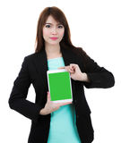 Business woman holding  isolated screen  tablet computer over wh Stock Images