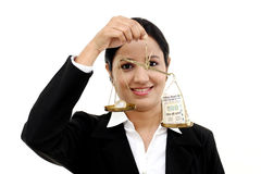 Business woman holding the justice scale Royalty Free Stock Images