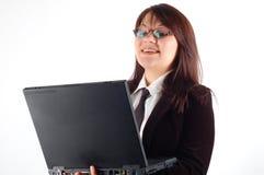 Business woman holding laptop Stock Photos