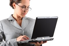 Business woman holding laptop. On white stock photography