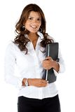 Business woman holding laptop computer Stock Image