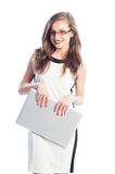 Business woman holding a laptop Stock Image