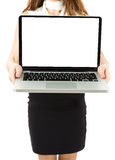 Business woman holding laptop with copy space Royalty Free Stock Image