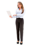 Business woman holding a laptop Stock Photo