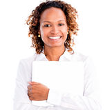 Business woman holding a laptop Stock Images