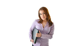 Business Woman Holding Laptop. Business woman smiling and holding laptop Stock Photo