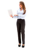 Business woman holding a laptop. Royalty Free Stock Photo