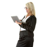 Business woman holding laptop - surprised Stock Images