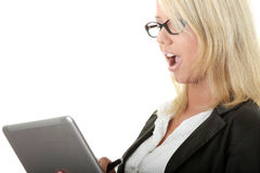 Business woman holding laptop - surprised Stock Photo