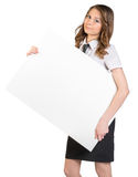 Business woman holding a large blank billboard Royalty Free Stock Image