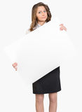 Business woman holding a large blank billboard Stock Photos