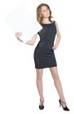 Business woman holding a large blank billboard and Stock Image