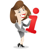 Business woman holding letter i. Vector illustration of a dark-haired business woman holding a red letter i (for information) in her hands royalty free illustration